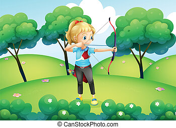 A girl with an archer at the hilltop - Illustration of a...
