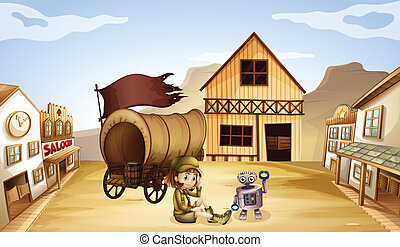 A robot and a girl beside a wagon - Illustration of a robot...