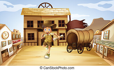 A boy running with a scrolled paper - Illustration of a boy...