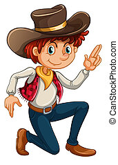 A cowboy - Illustration of a cowboy on a white background