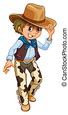 A young cowboy - Illustration of a young cowboy on a white...