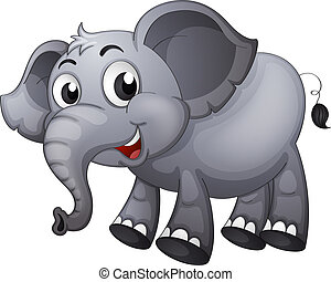 A gray elephant - Illustration of a gray elephant
