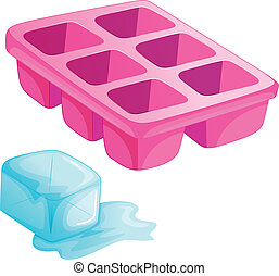 A pink ice tray - Illustration of a pink ice tray on a white...