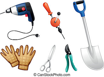 Six different kinds of construction tools - Illustration of...