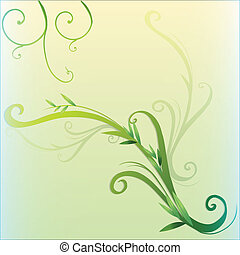 Green vine leaf border design - Illustration of a green vine...