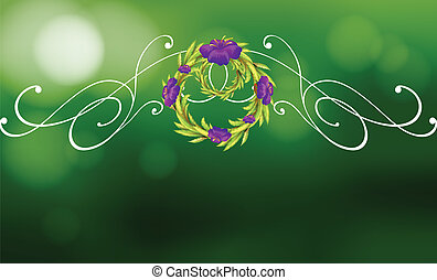 A green and violet border design - Illustration of a green...