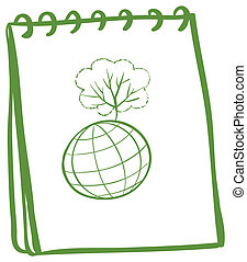 A green notebook with a globe at the front page -...