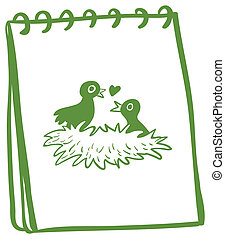 A notebook with a drawing of two birds in the nest