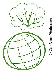 A green tree at the top of a globe