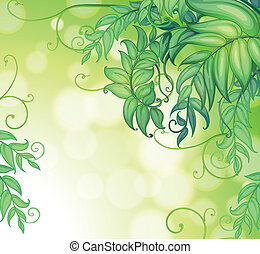 A stationery with gradient colors and green leaves -...