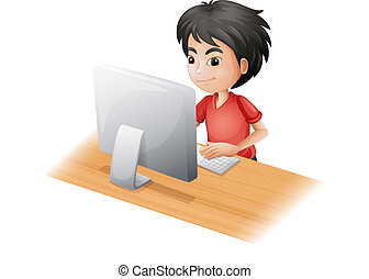 A young boy using the computer - Illustration of a young boy...