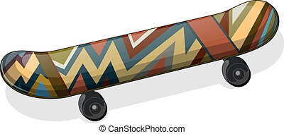 A skateboard with a paint - Illustration of a skateboard...
