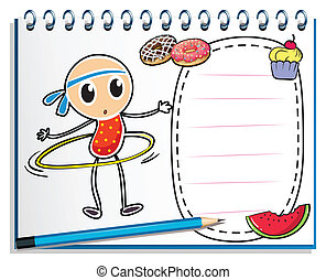 A notebook with a sketch of a young child with a hula hoop -...