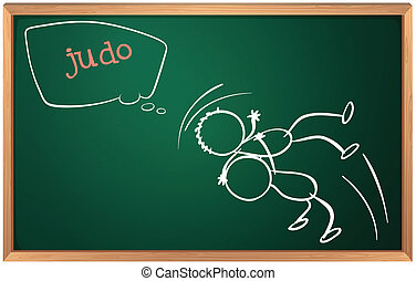 A board with two people doing judo - Illustration of a board...