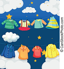 Different hanging clothes - Illustration of the different...