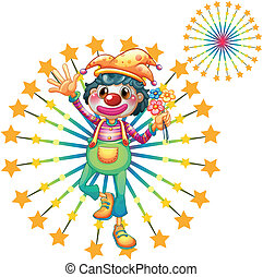 A firework display with a clown - Illustration of a firework...