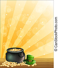 A green hat and a pot of gold - Illustration of a green hat...