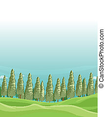 A field with pine trees - Illustration of a field with pine...