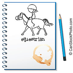A notebook with a drawing of a girl riding a horse -...