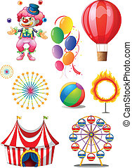 A clown playing balls with different circus stuffs -...