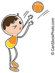 A boy playing basketball - Illustration of a boy playing...