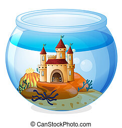 A castle inside a fishbowl - Illustration of a castle inside...