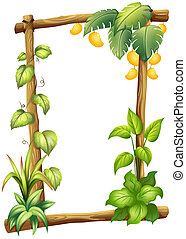 A frame made of wood with mangoes - Illustration of a frame...