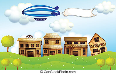 An airship above the neighborhood with a banner