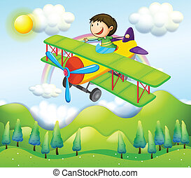 A young man riding in a colorful plane - Illustration of a...