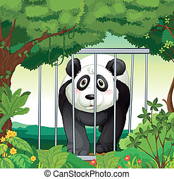 A forest with a panda inside a cage - Illustration of a...