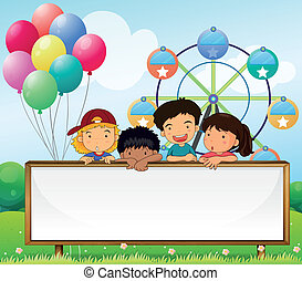 Kids holding an empty signboard - Illustration of the kids...