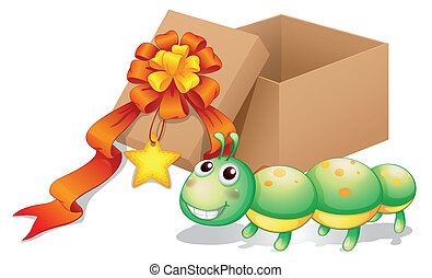 A caterpillar toy beside a box