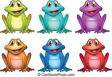 Six different colors of frogs - Illustration of the six...