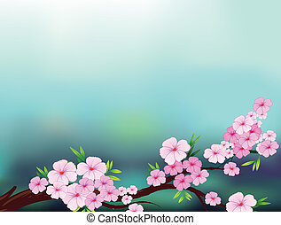 A stationery with cherry blossom flowers