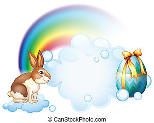 A rabbit and an egg near the rainbow - Illustration of a...