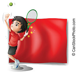 A boy playing tennis in front of the Chinese flag