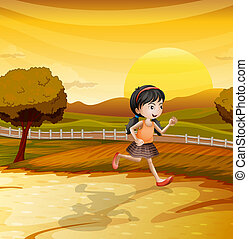 A girl running along the field - Illustration of a girl...