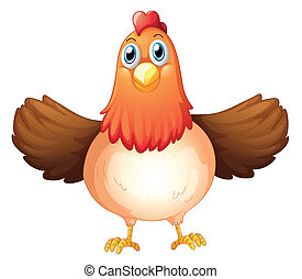 A fat mother hen - Illustration of a fat mother hen on a...