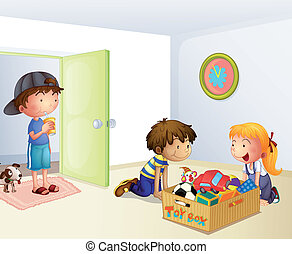 Three kids inside the house with a box of toys -...