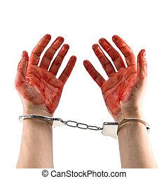 murderer - bloody murderer hands isolated on white