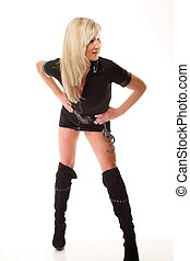 woman in latex with handcuffs on white