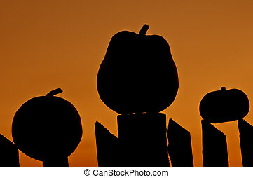 halloween background with three pumpkin