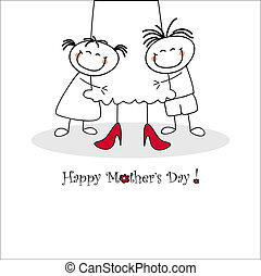 Mother's day card - Cut mother's day card - vector...