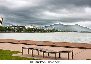 Cairns on a rainy day - view of Cairns looking toward the...