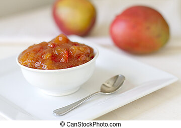 Mango Chutney - Homemade mango chutney with ginger and red...