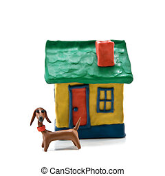 house and small dog isolated