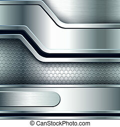 Abstract background, metallic silver banners. Vector...
