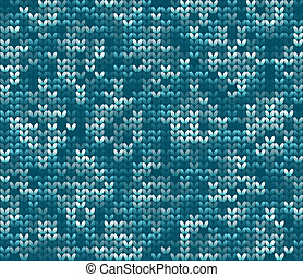 Knitted wool vector background - Knitted wool blue pattern...