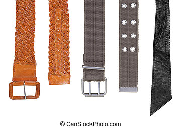 Belts are different - Fabric and leather straps on a white...