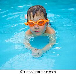 activities on the pool - Activities on the pool. Cute boy...